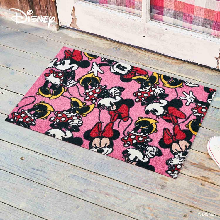 Disney Mat Collection ディズニー 玄関マット Minnie/ミニー 75 × 120 cm | 屋外 外 ピンク 洗える 丸洗い 薄型 おしゃれ かわいい ずれない 滑り止め エントランスマット ドアマット 国産 日本製 クリーンテックス製