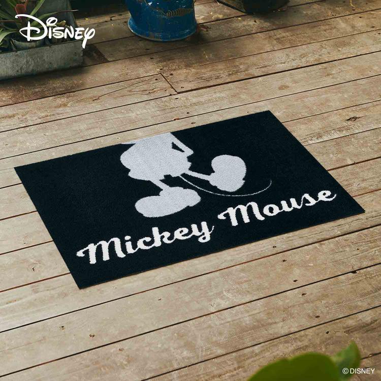 Disney Mat Collection ディズニー 玄関マット Mickey/ミッキー シルエット グレー 60 × 90 cm  屋外 外 グレー 洗える 丸洗い 薄型 おしゃれ かわいい ずれない 滑り止め エントランスマット ドアマット 国産 日本製 クリーンテックス製