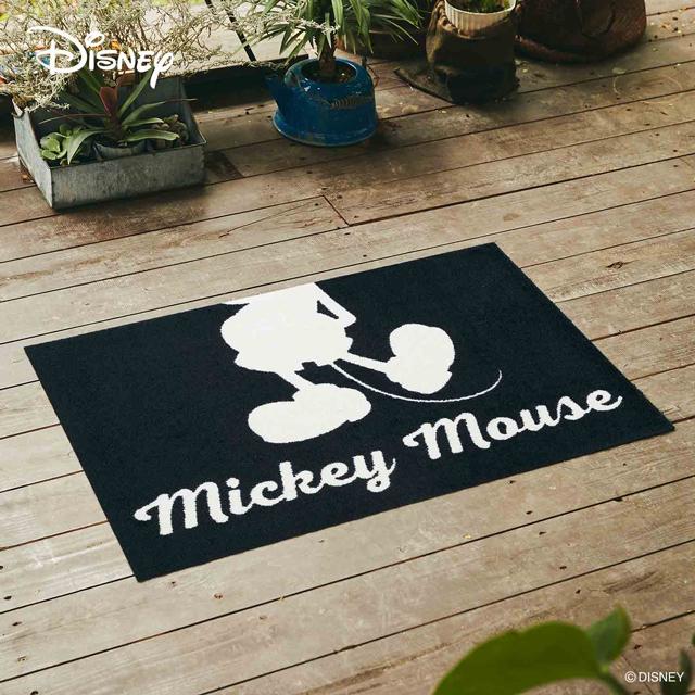 Disney Mat Collection ディズニー 玄関マット Mickey/ミッキー シルエット ホワイト 60 × 90 cm| 屋外 外 ホワイト/ブラック 洗える 丸洗い 薄型 おしゃれ かわいい ずれない 滑り止め エントランスマット ドアマット 国産 日本製 クリーンテックス製