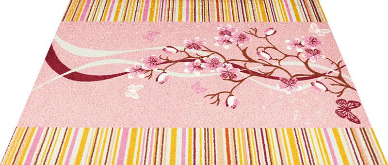 Office & Decor Cherry Road_チェリーロート゛145 x 200 cm玄関マット 屋内 室内 自然 Office&Decor オフィスマット ナチュラル エレガント 70種類 日本製 洗える 質感 花 桜 フラワー