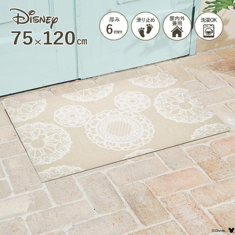 Disney Mat Collection ディズニー 玄関マット Mickey/ミッキー レース ベージュ 75 × 120 cm | 屋外 外 洗える 丸洗い 薄型 おしゃれ かわいい ずれない 滑り止め エントランスマット ドアマット 国産 日本製 クリーンテックス Kleen-Tex