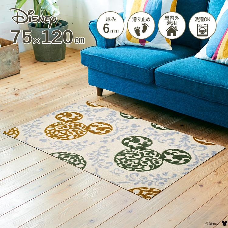 Disney Mat Collection ディズニー 玄関マット Mickey/ミッキー ロココ調 グリーン 75 × 120 cm | 屋外 外 洗える 丸洗い 薄型 おしゃれ かわいい ずれない 滑り止め エントランスマット ドアマット 国産 日本製 クリーンテックス Kleen-Tex