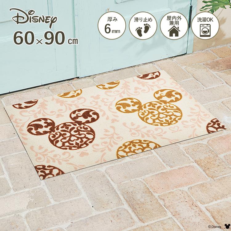 Disney Mat Collection ディズニー 玄関マット Mickey/ミッキー ロココ調 ブラウン 60 × 90 cm | 屋外 外 洗える 丸洗い 薄型 おしゃれ かわいい ずれない 滑り止め エントランスマット ドアマット 国産 日本製 クリーンテックス Kleen-Tex