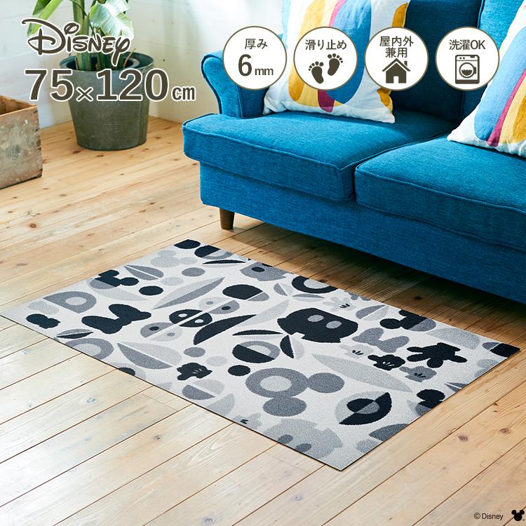 Disney Mat Collection ディズニー 玄関マット Mickey/ミッキー&ミニー モチーフ グレー 75 × 120 cm | 屋外 外 洗える 丸洗い 薄型 おしゃれ かわいい ずれない 滑り止め エントランスマット ドアマット 国産 日本製 クリーンテックス Kleen-Tex
