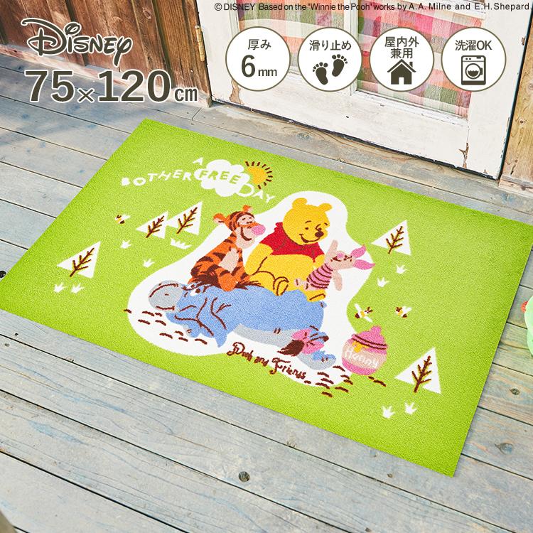 Disney Mat Collection ディズニー 玄関マット Pooh/プー&フレンズ 75 × 120 cm | 屋外 外 グリーン 洗える 丸洗い 薄型 おしゃれ かわいい ずれない 滑り止め エントランスマット ドアマット 国産 日本製 クリーンテックス Kleen-Tex