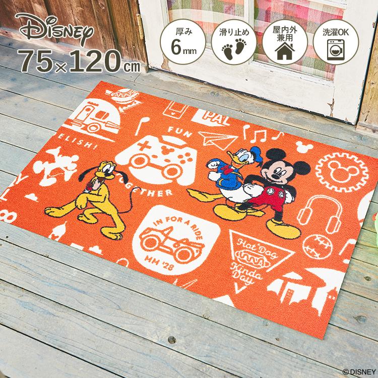 Disney Mat Collection ディズニー 玄関マット Mickey/ミッキーと仲間達 75 × 120 cm| 屋外 外 オレンジ 洗える 丸洗い 薄型 おしゃれ かわいい ずれない 滑り止め エントランスマット ドアマット 国産 日本製 クリーンテックス Kleen-Tex