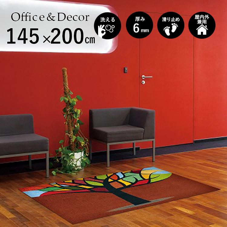玄関マット Office&Decor(オフィス&デコ) Stained Tre ステンドツリー 145×200 cm|玄関マット フロアマット 屋内 室内 自然 オフィス ナチュラル エレガント 70種類 日本製 洗える グリーン 緑 ウッド リーフ Kleen tex