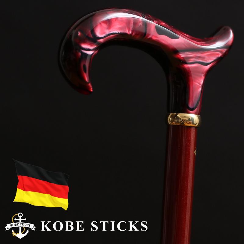 杖 つえ ステッキ 神戸 おしゃれ 高級 木製 男性 女性 かっこいい お洒落 金 ゴールド 送料無料 ドイツ製 一本杖 専門店 素敵 スマート スタイリッシュ tue TUE sutekki/魅力的な女性をより輝かせる ドイツ製ワインレッドステッキ
