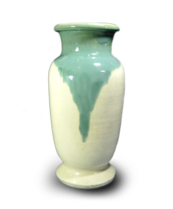 ○上野焼緑釉花瓶○明治時代-無傷-古陶器【古美術】【骨董】【中古】【送料無料】