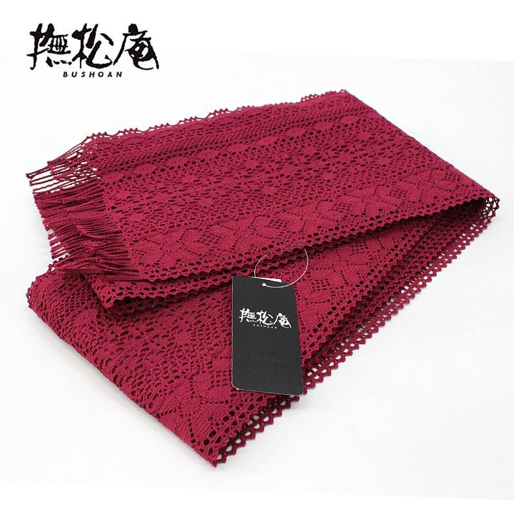 【ゆかた帯】撫松庵 レース02 ローズ(赤色系)【浴衣】【半幅帯】【送料無料】