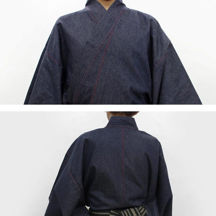粗斜紋布的和服深藍系統的粗斜紋布地牛仔褲地男性事情縫製上漲和服