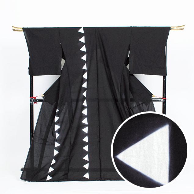 【ゆかた】メンズ 名古屋黒紋付染 絵羽浴衣 知多木綿×絞り 黒紋/三角【絵羽】【送料無料】