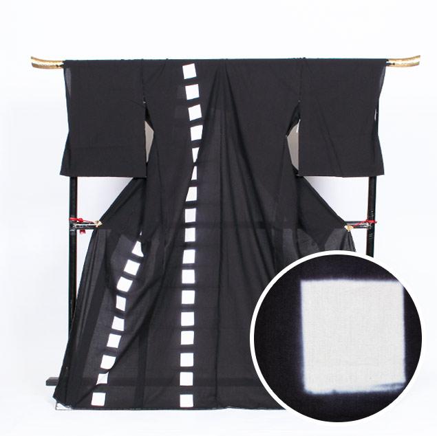 【ゆかた】メンズ 名古屋黒紋付染 絵羽浴衣 知多木綿×絞り 黒紋/四角【絵羽】【送料無料】