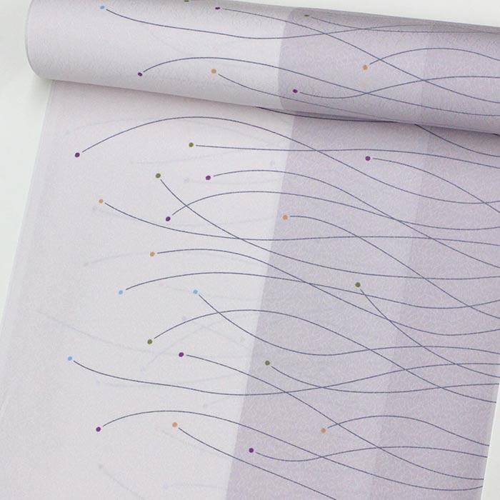 【東レシルック洗える着物】小紋k589【小紋】【反物】【送料無料】紫色系【かよういろ】