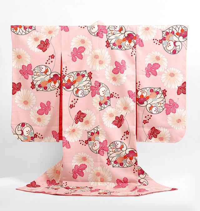 【レンタル】撫松庵七五三7歳レンタル【貸衣裳】716 薄ピンクに葵に菊