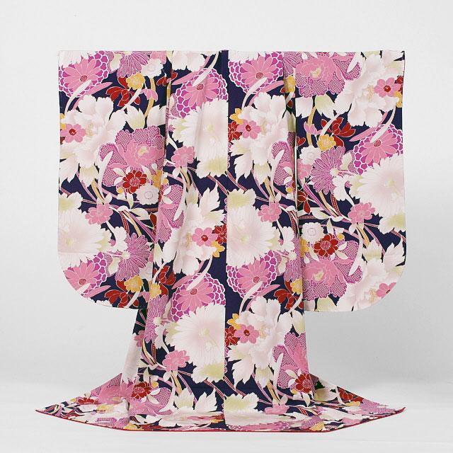 【レンタル】撫松庵七五三7歳レンタル【貸衣裳】720 濃い紫に牡丹に桜に菊