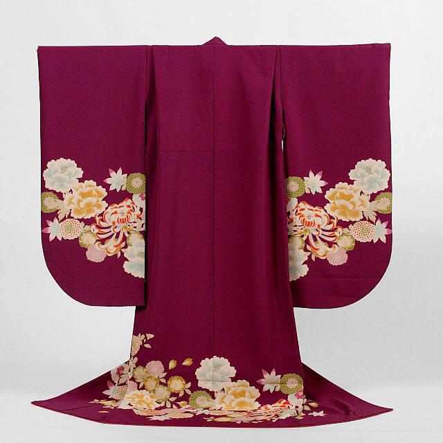 【レンタル】撫松庵七五三7歳レンタル【貸衣裳】7b-e3 濃い紫地に牡丹に菊に桜の絵羽きもの
