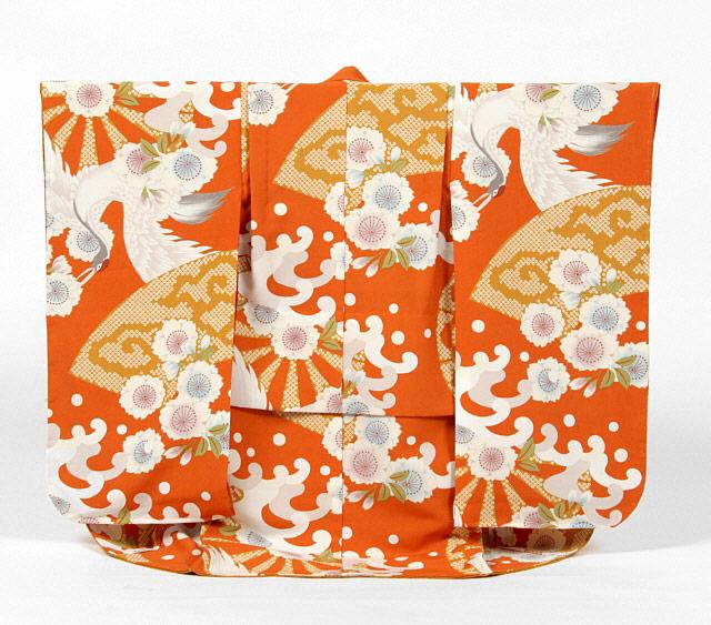 【レンタル】撫松庵七五三3歳レンタル【貸衣裳】308 オレンジに鶴に波 白ベルベット被布セット