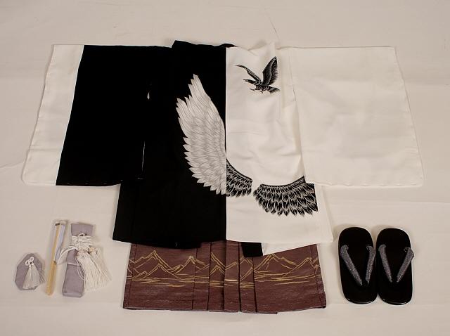 【レンタル】七五三レンタル 5095才男の子フルセット上地雄輔 白黒染め分けに鷹の翼