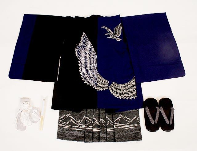 【レンタル】七五三レンタル 5105才男の子フルセット上地雄輔 紫黒染め分けに鷹の翼