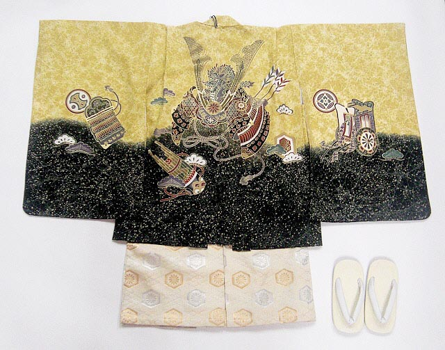 【レンタル】七五三レンタル 5015才男の子フルセット金茶に裾黒・兜