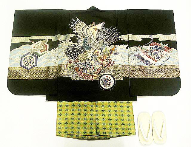 【レンタル】七五三レンタル 5025才男の子フルセット濃い緑・宝船に鷹