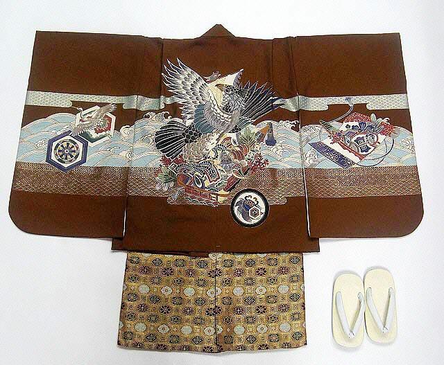 【レンタル】七五三レンタル 5035才男の子フルセット濃い茶・宝船に鷹