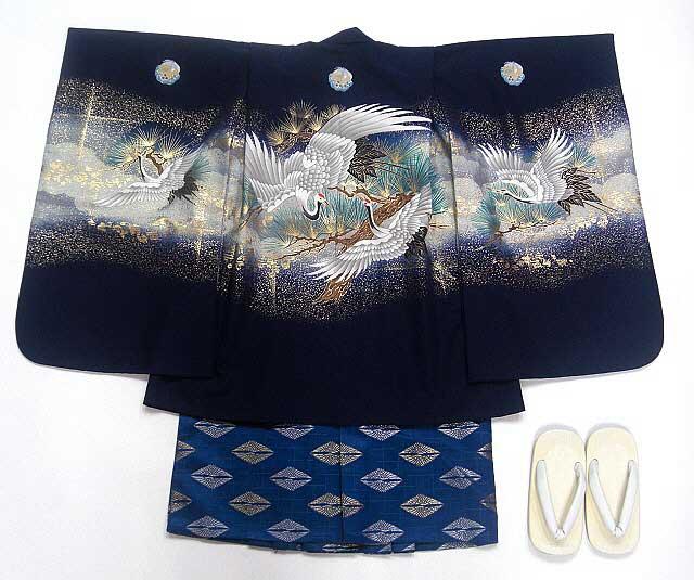 【レンタル】七五三レンタル 5045才男の子フルセット紺・鶴の舞