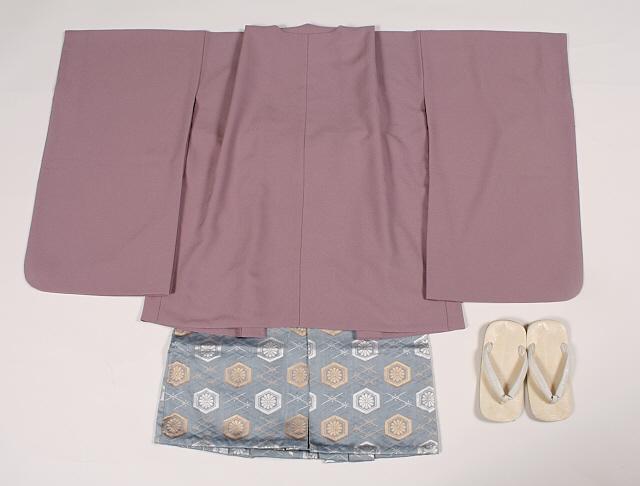 【レンタル】七五三 男の子 3才羽織・きもの・袴セットうす紫無地