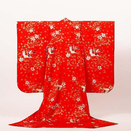【レンタル】七五三 女の子 7才【送料無料】【肩上げ無料】7k-1 真っ赤にオシドリ