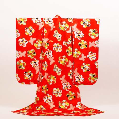 【レンタル】七五三 女の子 7才【送料無料】【肩上げ無料】7k-9 朱赤に花詰め梅