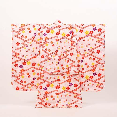 【レンタル】七五三 女の子 7才【送料無料】【肩上げ無料】7k-13 ピンクに小花散らし
