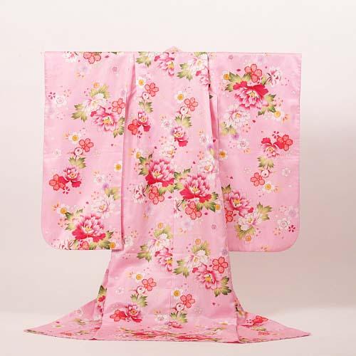 【レンタル】七五三 女の子 7才【送料無料】【肩上げ無料】7k-14 ピンクに牡丹
