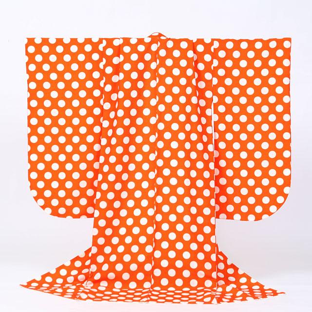 【レンタル】七五三 女の子 7才【送料無料】【肩上げ無料】7s-28 オレンジドット柄