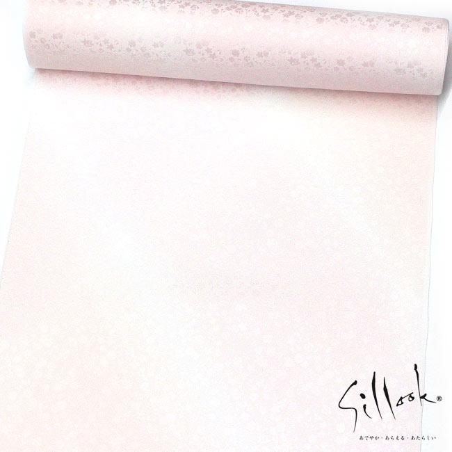 【東レシルック】袷用 長襦袢 【反物】【洗える襦袢】【送料無料】小花づくし地紋/薄ピンク系斜めぼかし