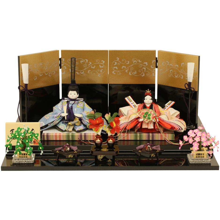 ひな人形 雛人形 親王飾り 衣装着ひな人形 まめひな 金唐草 初節句 お祝い