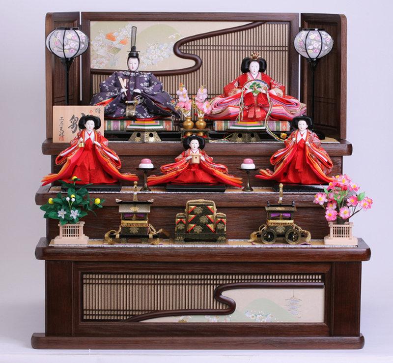 雛人形 ひな人形 人気 三段飾り ~小さな花柄衣装着が上品さを印象づける古典的エレガント雛~ (雛/三段飾り/名匠・逸品飾り/お雛様/お雛さま/おひなさま/ひな祭り/雛祭り) 人形広場 雛人形 かわいい 雛人形 お