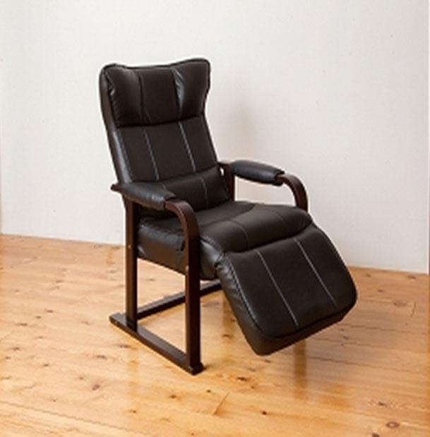 木製肘付 リクライニングチェア オットマン付 【椅子】