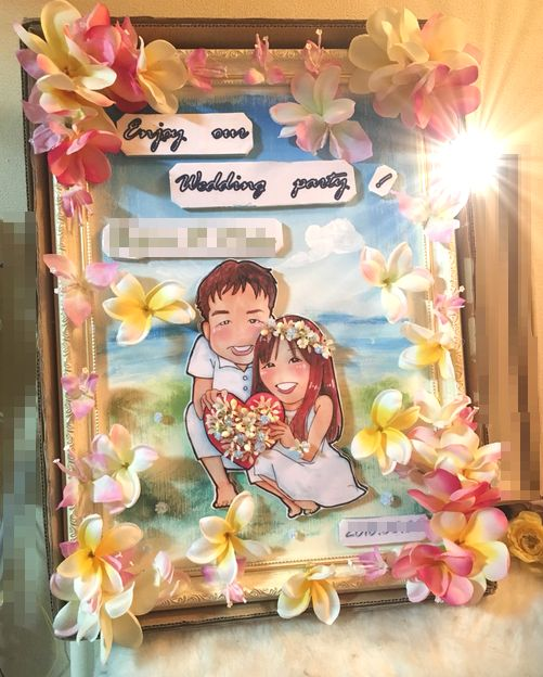 似顔絵ウェルカムボードA3/ウェディング、家族、記念日、開店祝い、新築祝い、結婚式、結婚記念日、オリジナル、プレゼント、ギフト、造花、結婚祝い、送料無料