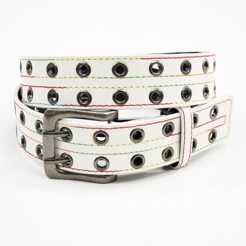 海外 ベルト メンズ カジュアル 大人気のハトメベルト 送料無料 レディース レインボーステッチアイレットベルト LADY'S ハトメベルト 数量限定アウトレット最安価格 ホワイト サイズ調整可能 Belt MEN'S