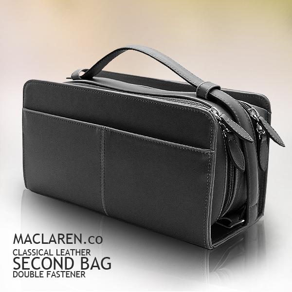 MACLAREN人気のセカンドバッグ ボックスタイプのダブルファスナー式セカンドバッグ セカンドバッグ 正規認証品 有名な 新規格 メンズ ダブルファスナー ブラウン ブラック 合皮 ボックスタイプ