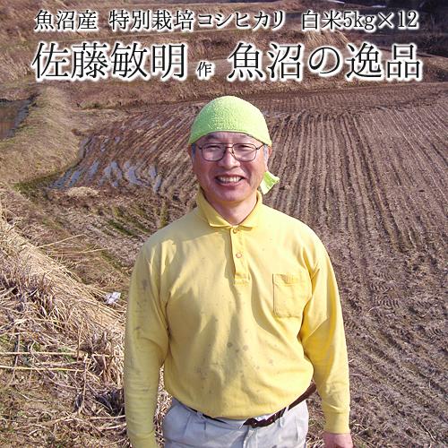 【令和元年米】【定期便 1年分】【特別栽培米】 魚沼産 コシヒカリ「魚沼の逸品」 白米 (5kg袋×12回)