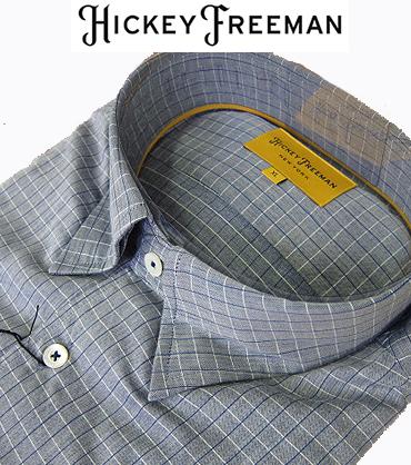 長袖 メンズ カジュアルシャツ グレー チェック レギュラーカラー スナップダウン HICKEY FREEMAN ヒッキーフリーマン