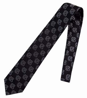 ネクタイ ミラショーン オリジナルロゴ柄 ブラック シルバー お洒落 インポートネクタイ