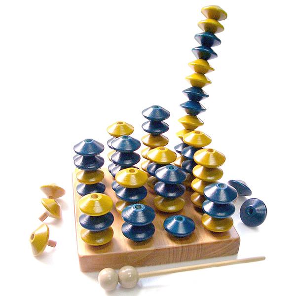 そろばん ゲーム 脳トレ 知育木具 5才 日本頭脳スポーツ協会認定品 日本製 頭いきいきゲーム多段重ね新立体四目並べ DA-48S