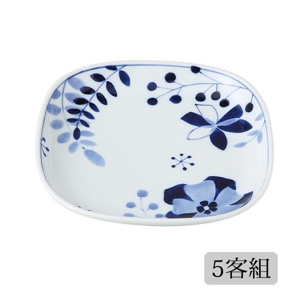 食器 皿 プレート 角 セット 5客組 おしゃれ 可愛い 贈り物 プレゼント 波佐見焼 磁器 日本製 ハーモニー 角プレート(M) 5客組 14760