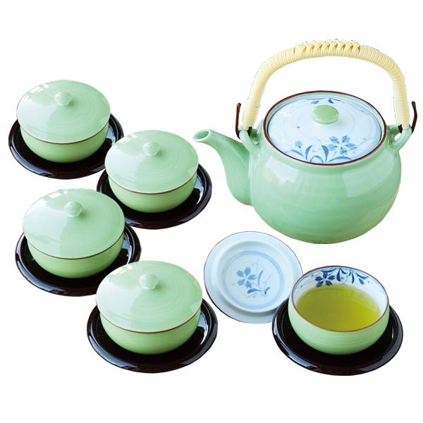 さわやかな緑彩を基調にした素敵なデザイン 激安 食器 茶器 土瓶 汲出 茶托 セット おしゃれ 可愛い プレゼント 日本製緑巻桔梗絵 蓋付茶器揃 波佐見焼 化粧箱入り 茶托付 磁器 1着でも送料無料 56954 ステンレス 贈り物