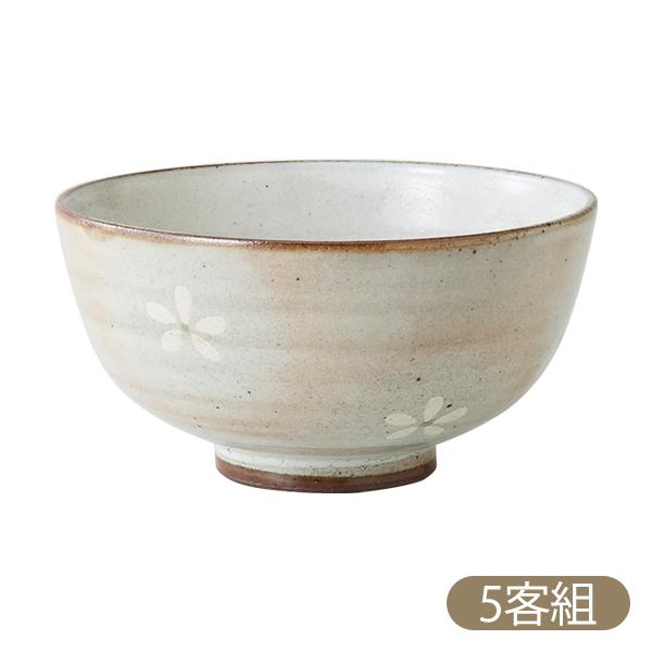 白 緑 ホワイト グリーン 桜 花 茶碗 波佐見焼 日本製 陶器 セット 来客 揃え白サクラ 飯碗(大) 5客組 70466