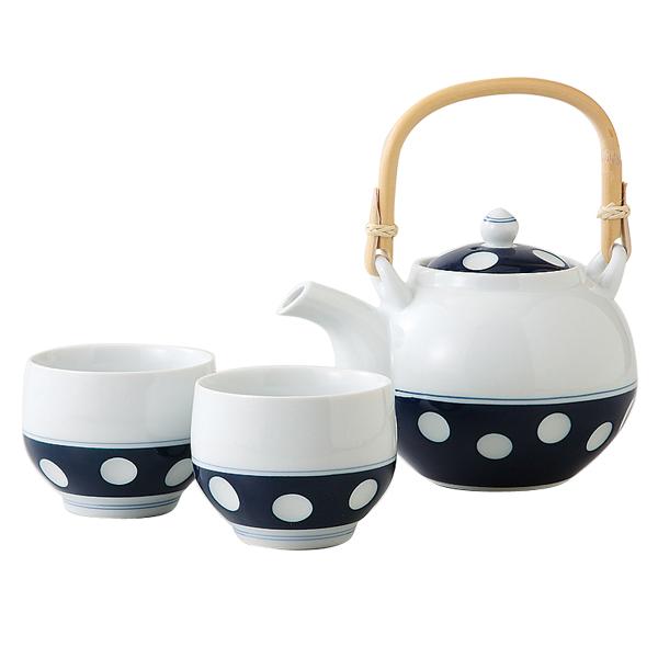 敬老の日 ギフト 古稀 敬老の日 ギフト 古稀 土瓶 陶器 セット 吉田焼 かわいい おしゃれ 有田焼 土瓶 ドット 藍色 ティーポット水玉 茶の間