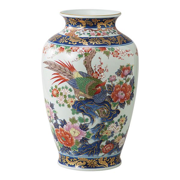 花瓶 陶器【送料無料】染錦岩花鳥 10号肩丸花瓶